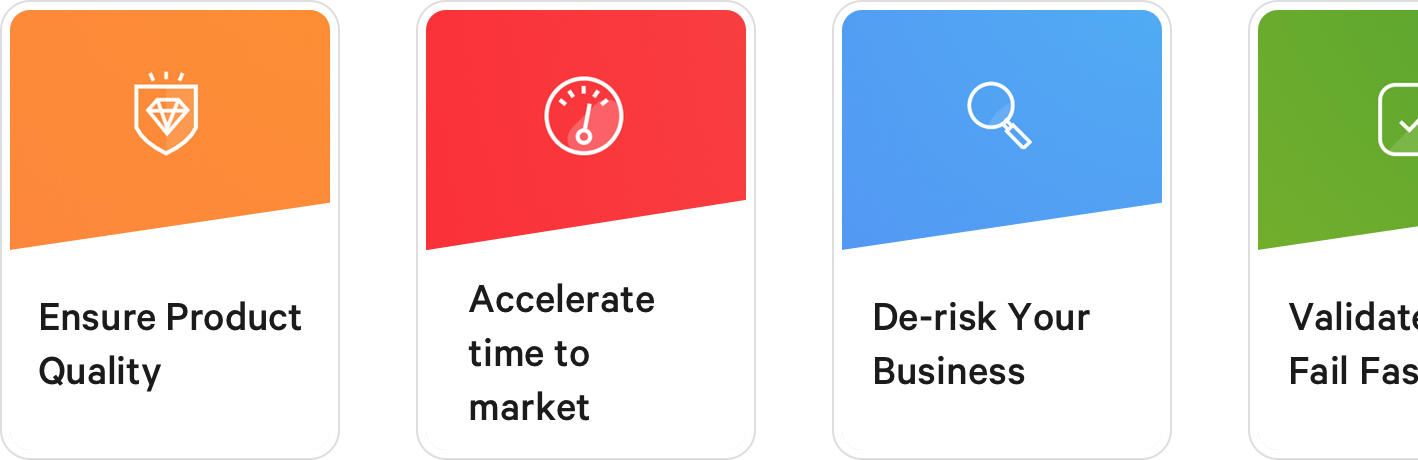 Three cards, each with a title. From left to right, the card title and icons are Ensure Project Quality, Accelerate time to market, and De-risk Your Business.