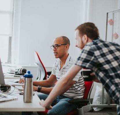 Developer working on a Code Audit at their desk